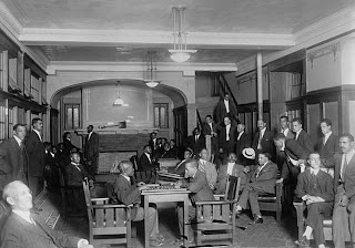 African American men in the lobby of the Chicago colored Y.M.C.A