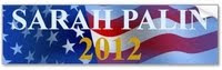 Sarah Palin 2012 bumpersticker