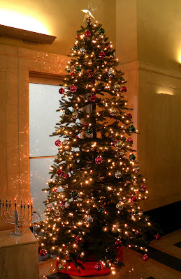 Christmas Tree and Hanukkah menorah