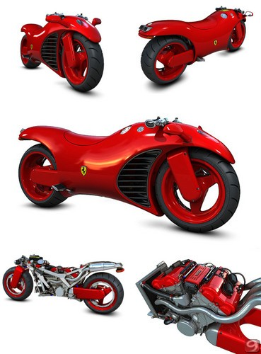 Ferrari Motosikleti Resimleri Özelikleri - 3D Ferrari V4 Motorcycle