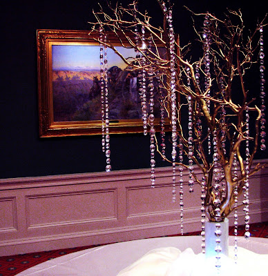 We custom built a crystal tree for this wedding and it will be available for