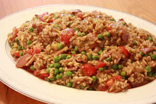 Risotto with Peas, Leeks, Tomatoes & Bacon