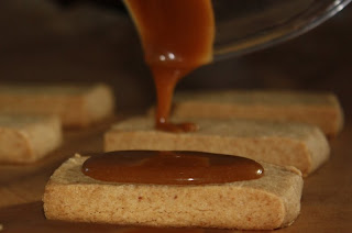caramel drizzle on the shortbreads