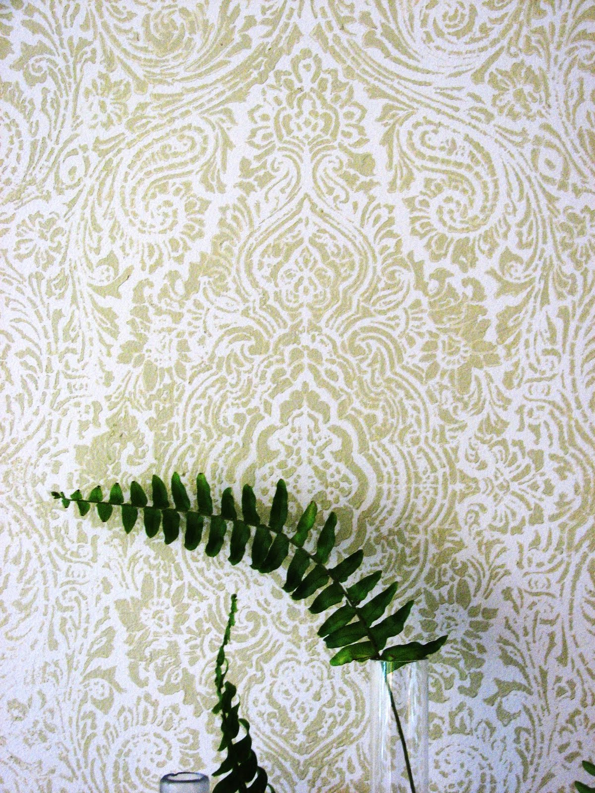 Well my sweet husband finished the LR wallpaper stenciling this weekend!