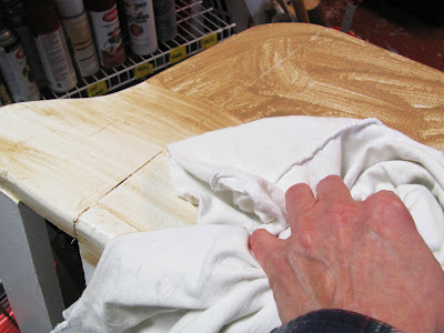 use watered down paint instead of glaze for distressing furniture