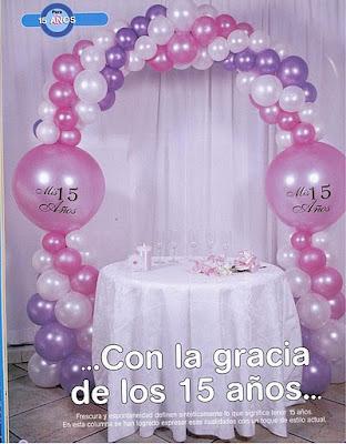 Compartiendo con mis amigas decoraci n con globos para 15 a os - Decoracion con globos 50 anos ...