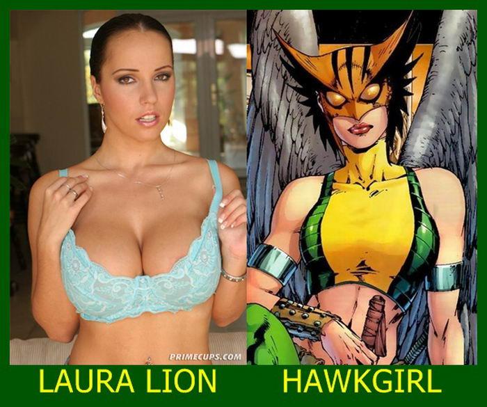 Laura Lion como Mulher-Gavião