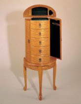 Queen Anne Style Oak Finish Wood JEWELRY ARMOIRE with 5 Drawers