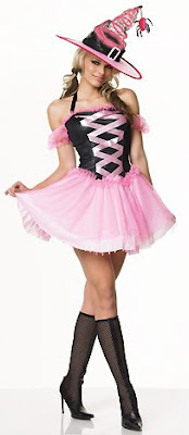 Hot and Sexy Fantasy Witch in Pink Lingerie Halloween Costume Pics