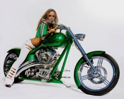 Hot Girl on Green Chopper Wallpaper