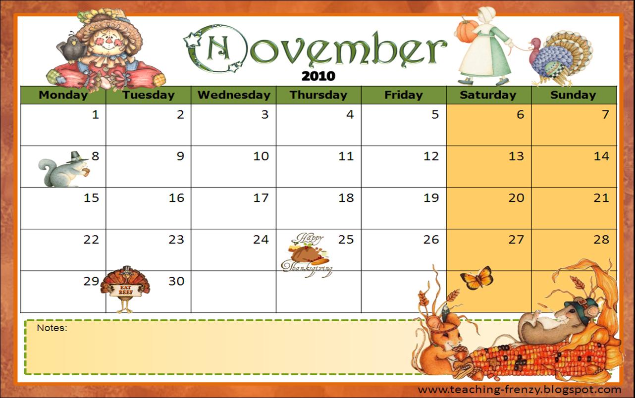 November Calendar Ideas : Teaching frenzy november calendar