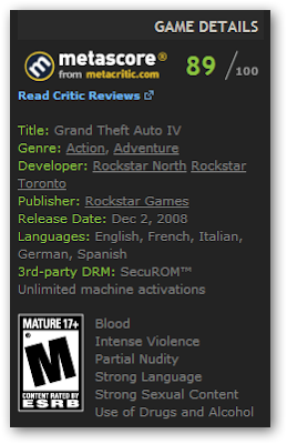 Grand Theft Auto IV on Steam contains SecuROM