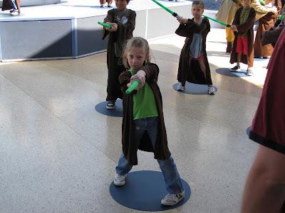 Disneyland - Mandi wielding her lightsaber