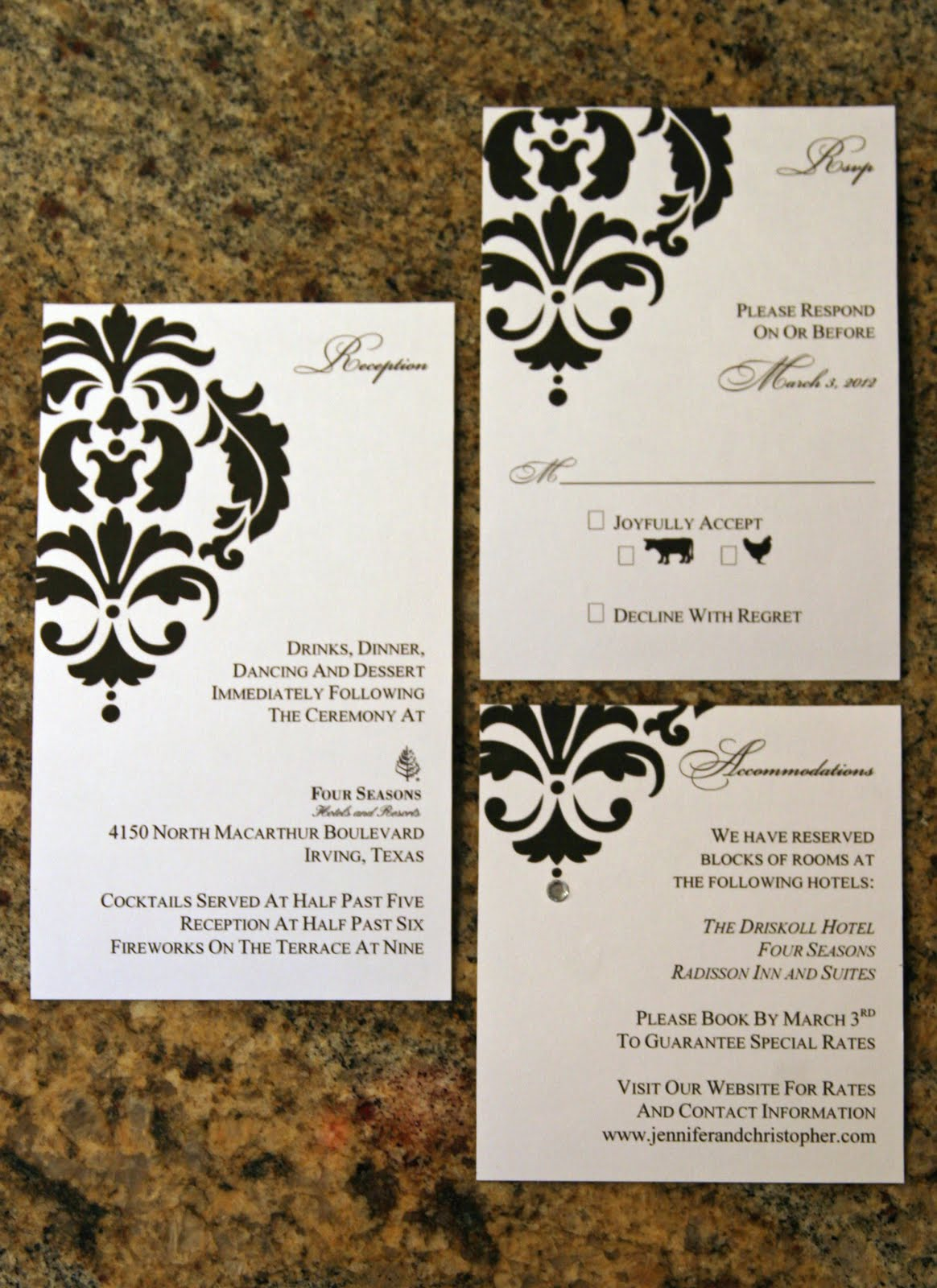 Paper Perfection: Damask Wedding Invitation