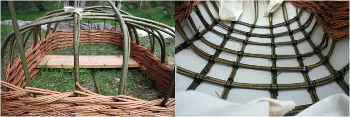 Left: Coracle under construction. planted in the earth, willow is woven round the willow ribs to create the gunwhale. Right: the Coracle is uprooted and calico is sewn to the structure, providing the light weight skin.
