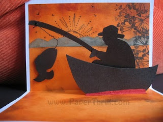 Sunset fishing popup card