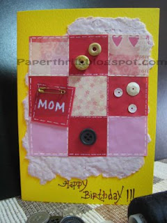 Patchwork blanket birthday card - Yellow
