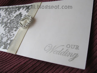 Damask handmade wedding card