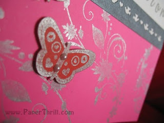 Sparkling fushia wedding card butterfly
