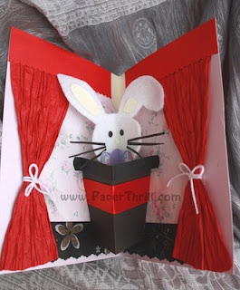 Handmade Popup Magic rabbit card