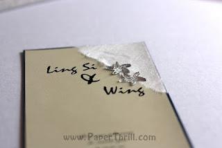 Silver starfish wedding invitation