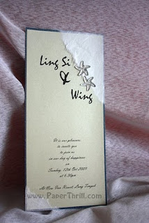 Silver starfish handmade wedding invitation