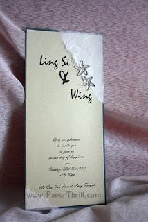 Silver starfish handmade wedding invitation