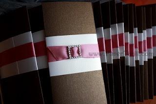 Pink buckle wedding invitation card