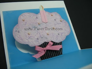 Pink cupcake pop up birthday card