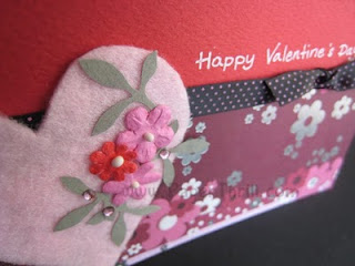 Handmade Pink heart valentines day card