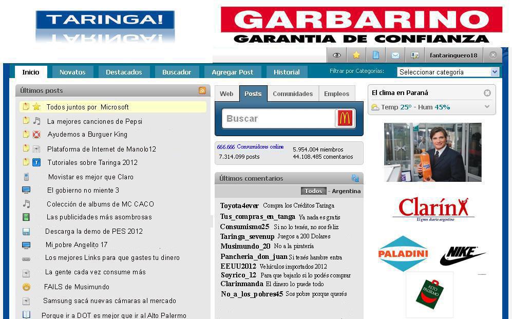 Fuentes de Información - Taringa en 2012
