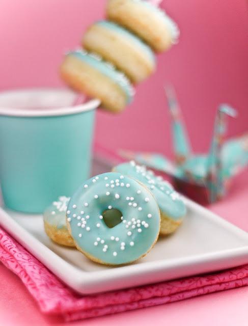 Blue Frosting Vanilla Doughnuts