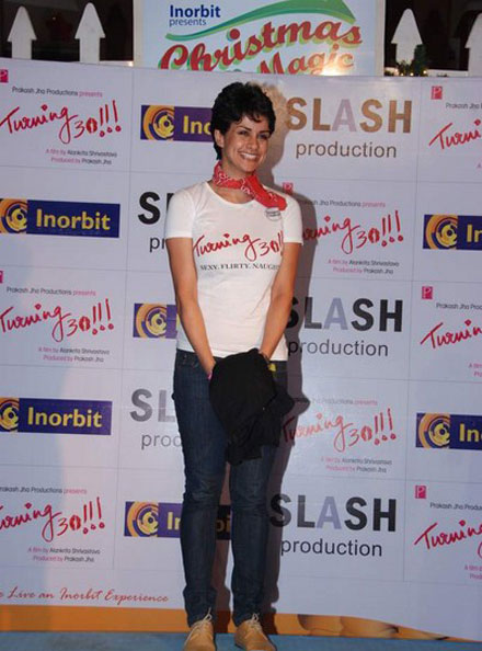 gul panag in tshirt at turning promotional event at inorbit mall hot images