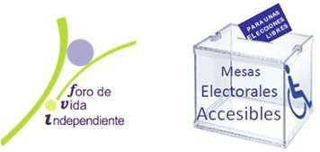 Logotipo del Foro de Vida Independiente y de mesa electoral accesible