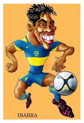 Caricaturas de futbolistas, técnicos y figuritas retro...