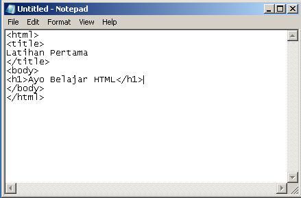 Buka Notepad Lalu Ketikkan Seperti pada Gambar :