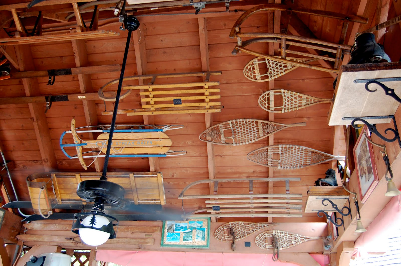 You Ll See Vintage Signs And Postcards From Ski Resorts Across The Country Along With A Collection Of Antique Sleds Skis Ice Skates Snowshoes