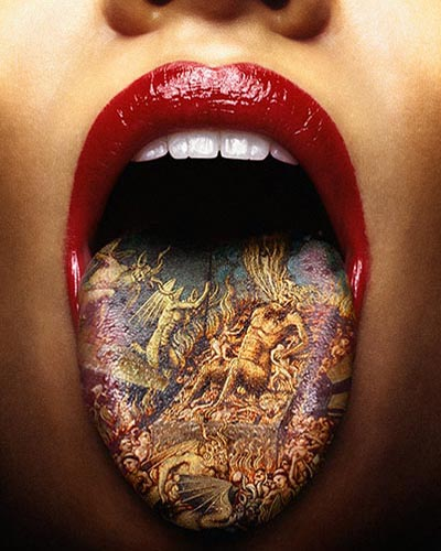STRANGE TATTOOS - INSIDE THE MOUTH - LIP