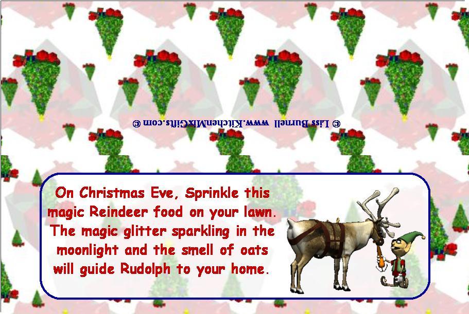 Mix recipe for santa s reindeer to make reindeer feed melt white