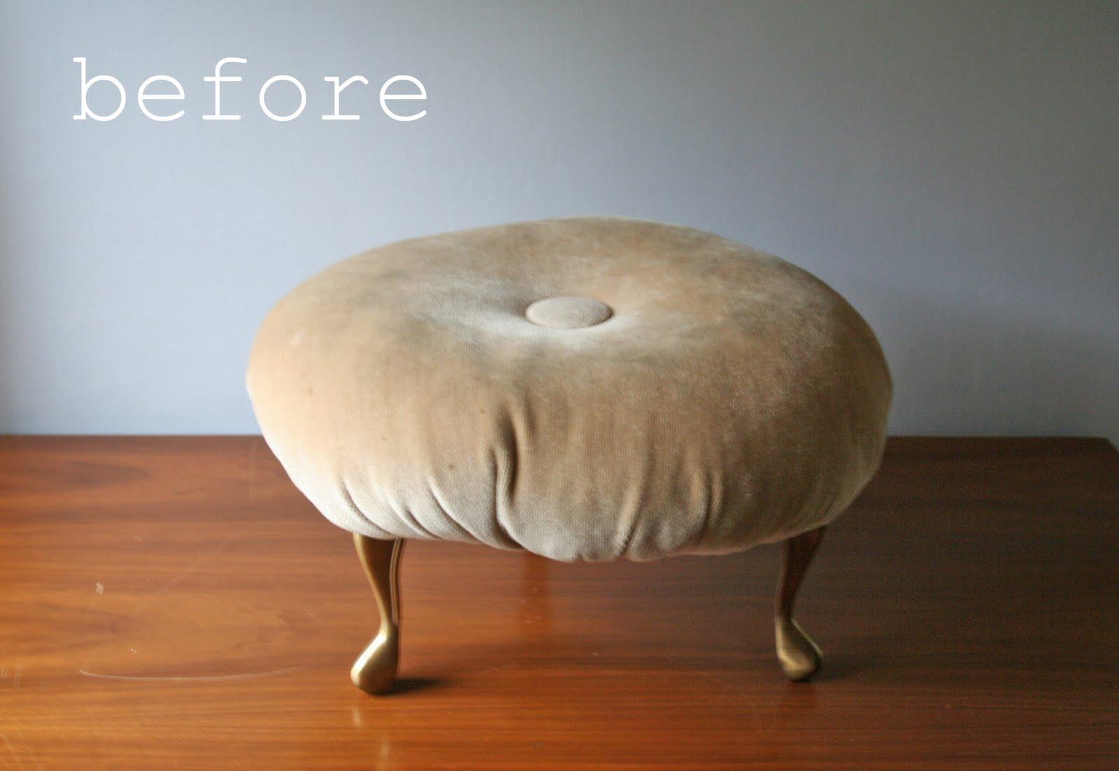 Modish Vintage Diy Reupholstered Footstool