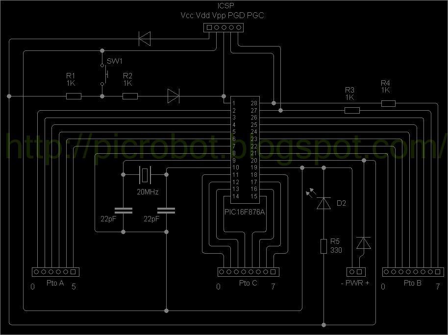 Circuito del probador de PIC16F876 (haga click para agrandar)