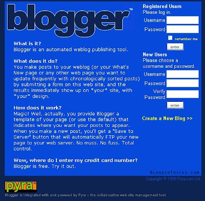 Design of Blogger in 1999