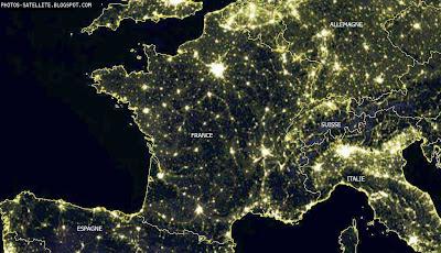 vue Europe du ciel la nuit