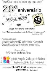 28º Aniversário do Grupo Missionário de Mulheres