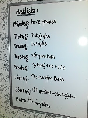 matlista för en vecka