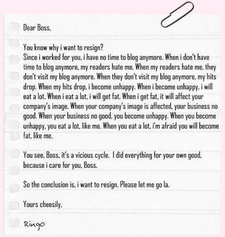 sample resignation letter for nurses