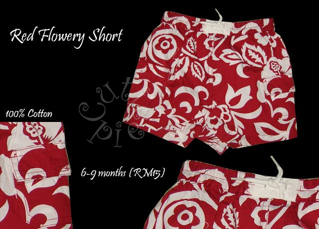 Red Flowery Short