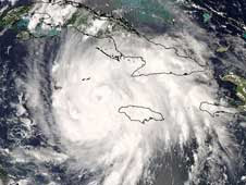 Hurricane Gustav moved along the southern side of Jamaica on Aug. 29, 2008.