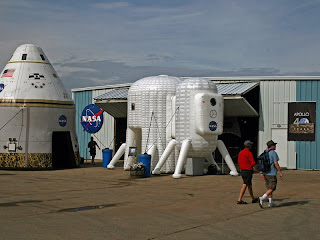 Inflatable exhibits of a lunar habitat concept and an Orion Crew capsule