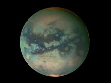 This image of Titan shows data taken with Cassini's visual and infrared mapping spectrometer during the last three flybys of Titan